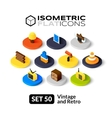 Isometric flat icons set 50 vector image