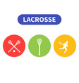 lacrosse icons player in game sticks vector image vector image