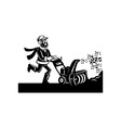 Man operating snow blower or thrower vector image vector image