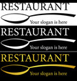 minimalist restaurant logo set with a golden spoon vector image