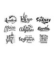 names cities london tokyo sydney pisa los vector image