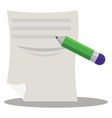 paper and pencil on white background vector image vector image
