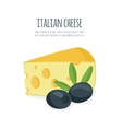 Piece of cheese with olives vector image