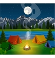 poster showing a campsite with a campfire vector image vector image