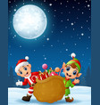 santa claus kid with cartoon elf and a sack full o vector image vector image