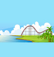 scene with circus ride in park water vector image vector image