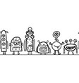 seamless monster border repeating cute vector image vector image