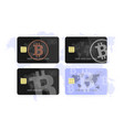 set concept of a bank card bitcoin vector image vector image