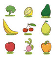 set fruits and vegetables fruit and vegetable vector image vector image