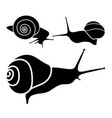 set of black snails vector image vector image