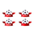 set of soccer ball with ribbon vector image vector image