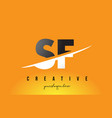 sf s f letter modern logo design with yellow vector image vector image