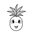 silhouette kawaii cute sad pineapple vegetable vector image vector image
