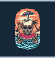 skeleton eating watermelon summer beach t shirt g vector image