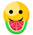 smiling emoji eating watermelon slice with seeds vector image