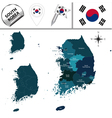 South Korea map with named divisions vector image vector image
