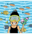 swimmer wearing snorkel with seashell vector image vector image