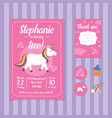 unicorn birthday invitation card template vector image vector image
