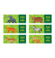 wild animals in jungle banner ticket vector image vector image