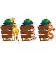 wooden signs with giraffe and monkeys vector image vector image