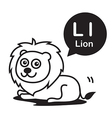 L Lion cartoon and alphabet for children to vector image
