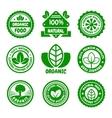 Organic Food Green Labels Set vector image