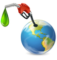 A petrol pump and a globe vector image