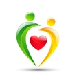 Abstract colorful people and heart icon vector image vector image