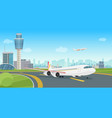 airport terminal building with aircraft airplane vector image vector image