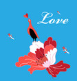 beautiful bright greeting card with bird in love vector image vector image