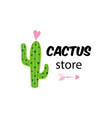cactus store text cute funny logo for cactus vector image