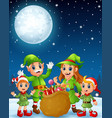 cartoon christmas elves old man old witch with e vector image vector image