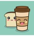 cartoon cup bread slice design vector image vector image