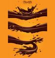 chocolate advertisement three dynamic chocolate vector image vector image