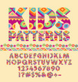 colorful pattern alphabet set for children vector image