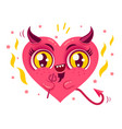 cute devil heart vector image vector image