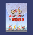 cycling tour around world typography brochure vector image