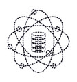 data science atom around of server icon in dotted vector image vector image