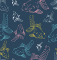 Different colored gol fishes seamless pattern vector image