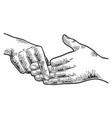 finger separation trick sketch vector image vector image