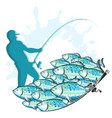 fisherman with fishing rod and fish vector image vector image