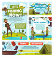fishing tours fisher catch tourism leisure vector image vector image