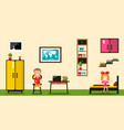 flat design room boy and girl inside house vector image vector image