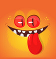 funny cartoon monster face showing tongue vector image vector image
