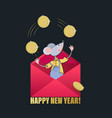 gold coins and mouse in a red envelope vector image vector image