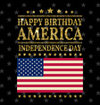 Gold glitter Independence day USA greeting card vector image