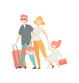happy family travelling together with suitcase vector image vector image