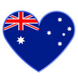 heart shape with the flag of australia vector image
