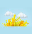 hello autumn 3d minimal with autumn vector image