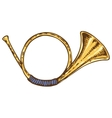 Isolated Golden French Horn vector image